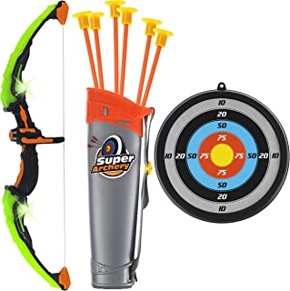 Toyvelt Bow and Arrow Set for Kids -Light Up Archery Toy Set -Includes 6 Suction Cup..