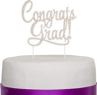 Ella Celebration Congrats Grad Graduation Cake Topper, New Graduate Party Supplies (Rose Gold)