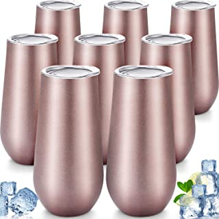 8 Packs Stemless Champagne Flutes Wine Tumbler, 6 OZ Double-insulated Wine Tumbler with Lids Unbreakable Cocktail Cups Champagne Glasses for Toasting Sipping (Rose Gold)