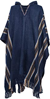 Gamboa - Alpaca Hooded Poncho - Blue with Brown Stripes