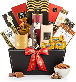 GiftTree Broadway Gourmet Congratulations Gift Basket | Ghirardelli Chocolates, Pomegranate Truffles, Popcorn & More. | Includes a