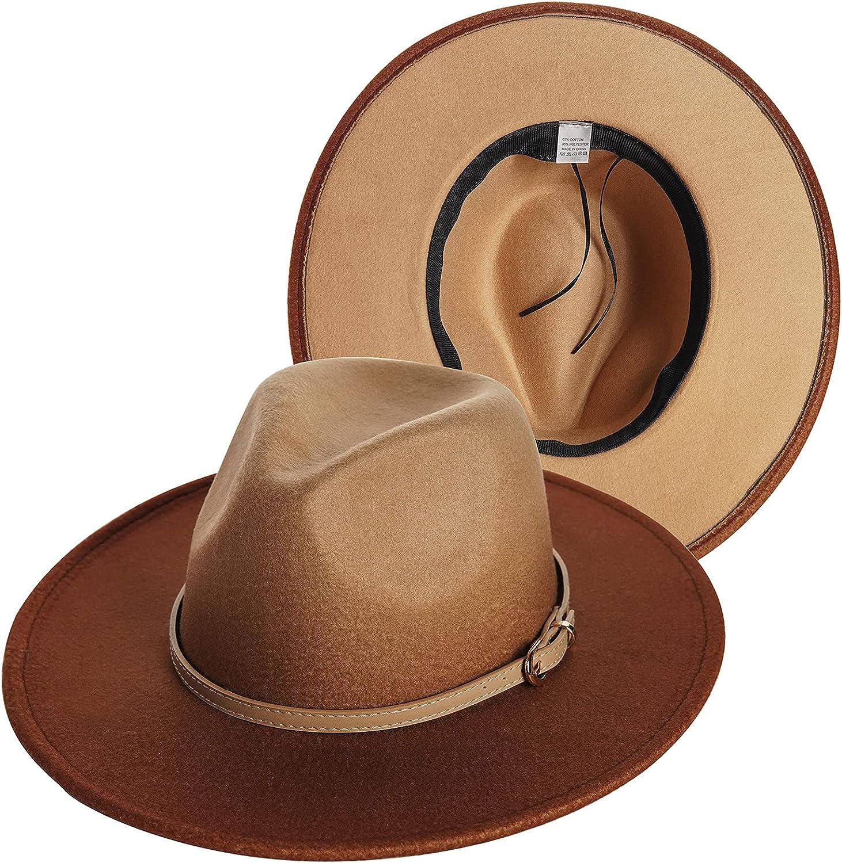 UTOWO Two-Color-Gradient-Ombre Felt-Fedora-Panama-Hats for Women Men, Two-Tone Tie-Dye Wide-Brim Fedora-Hat with Belt Buckle