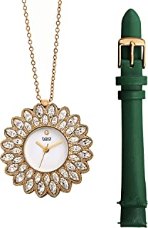 Burgi Ladies Swarovski Crystals Interchangeable Watch and Pendant Necklace Set, Includes Leather Strap, and Gold Plated Necklace Chain in Gift Box - BUR273