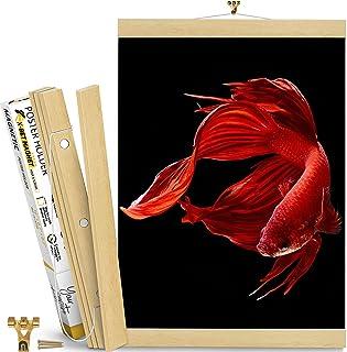 Magnetic Poster Hanger Frame 16 inch – White Wood Magnetic Poster Frame – Magnet Picture Frame for Pictures, Scrolls, Post...