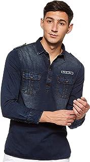 Deus Men's Two Pocket Casual Shirt, Denim