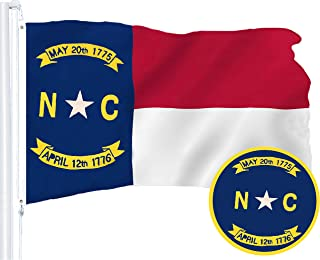 G128 – North Carolina State Flag | 3x5 feet | Embroidered 210D – Indoor/Outdoor, Vibrant Colors, Brass Grommets, Quality Polyester