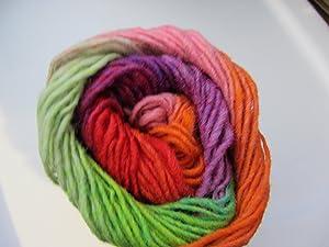Noro Kureyon, 319 - Violet-Red-Orange-Rose-Mint-Lime