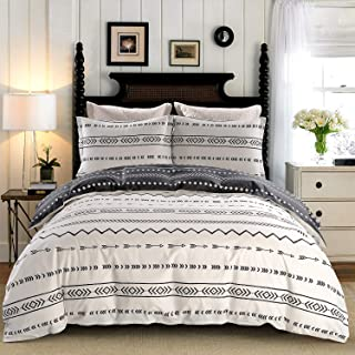 JUCFHY Duvet Cover Set Queen/Full Size Stripe,100% Cotton Tuscan Bedding,Black and White Chevron Geometric Modern Pattern Printed,Reversible with Zipper Closure,Corner Ties (3pcs, Queen/Full Size)