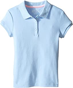 Short Sleeve Polo with Picot Stitch Collar (Big Kids)
