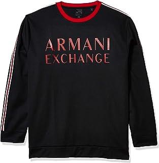 AX Armani Exchange Men's Crew Neck Pullover with Sleeve Stripe