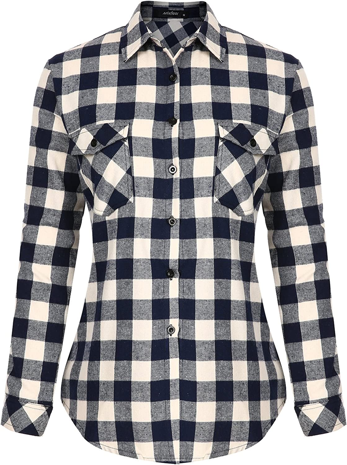 Womens Casual Button Down Shirts Classic Plaid Long Sleeve Loose Blouse Tops with Pockets