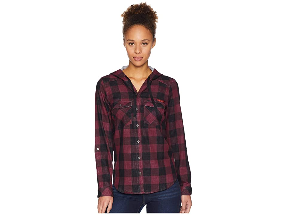 Columbia Collegiate Times Twotm Hooded Long Sleeve Shirt (VT/Deep Maroon Check) Women