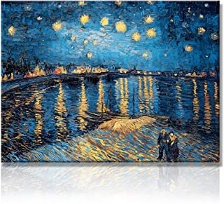 Starry Night Over The Rhone - Famous Oil Painting Artworks by Van Gogh Reproduction Poetry Giclee Canvas Prints Elegant Blue Wall Painting Art Decorative No Frame Wall Picture Picabala-16×12