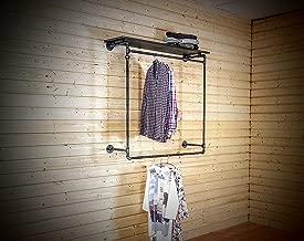 Rack para ropa fijo grande para anclaje en pared. Se ensambla con tubería de hierro al carbono de media pulgada de color negro natural y con madera de una pulgada entintada a mano (ver opciones de color). Excelente opción para exhibición y almacenaje de ropa en tiendas. También puede usar en casa o departamento sin closets. Perfecto para una decoración con muebles y accesorios vintage, rústicos e industriales para estilo farmhouse. No se recomienda para paredes de tablaroca.