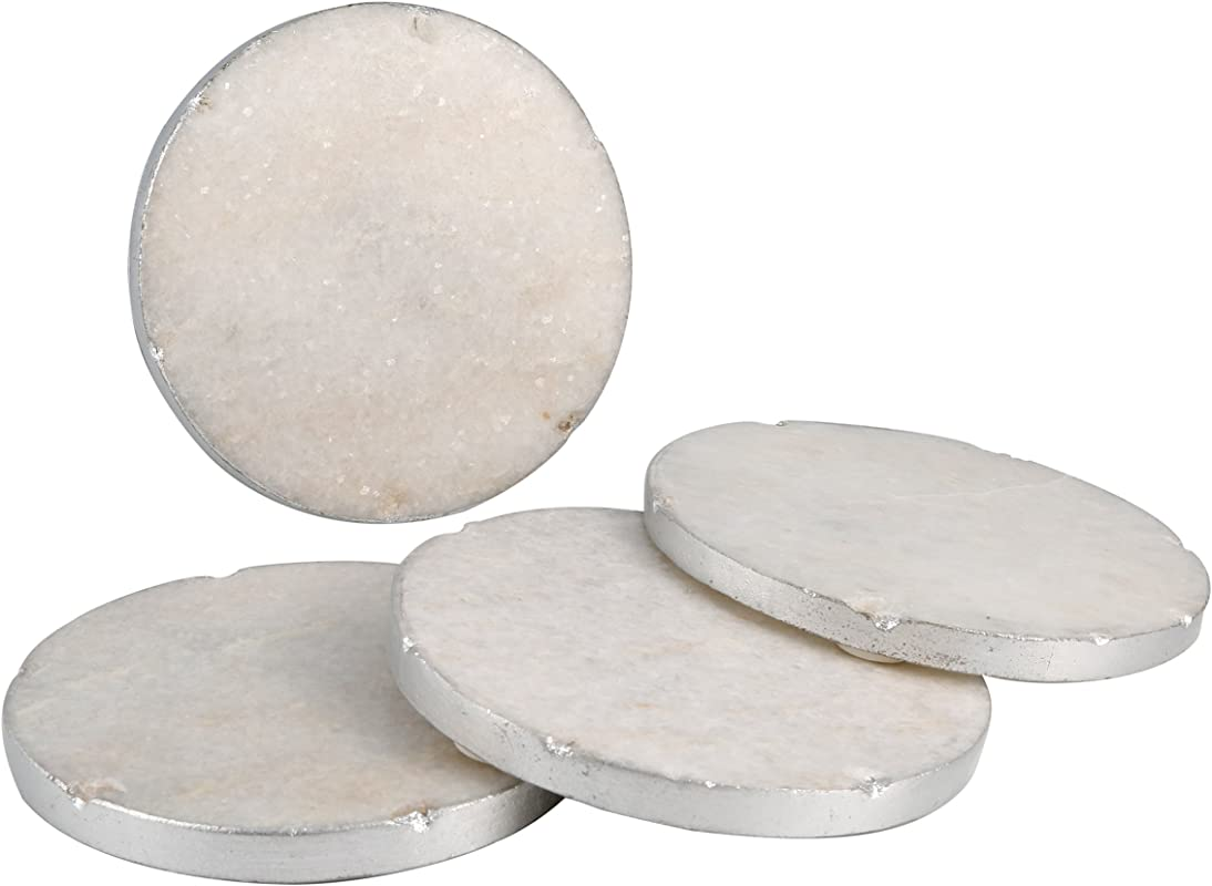 Thirstystone NMCH001 Old Hollywood Round White Marble Coasters With Silver Tone Edge Set Of 4