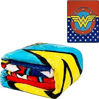 JPI Flannel Fleece Plush Blanket - Wonder Woman Logo - Queen Bed 79