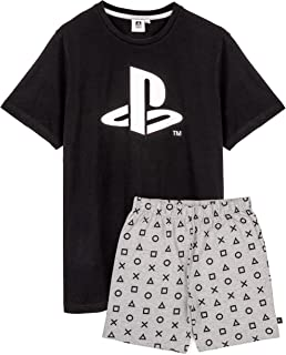 Playstation Pyjamas For Men | Black Short Sleeve T Shirt With Grey Long OR Short Trousers Gamer PJs | Game Console Merchan...