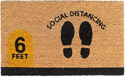 "Rugsmith Black Machine Tufted Social Distancing Doormat, 18"" x 30"", Natural"