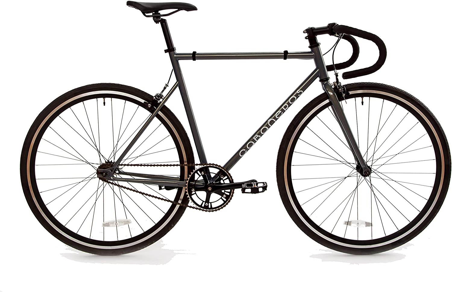 Cabablacks Bicycles 4130 Chromoly Road Bike Single Speed Fixed Gear Fixie Commuter Bicycle (Metallic Grey, 56cm(L))