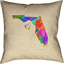 "ArtVerse Katelyn Smith 26"" x 26"" نسج البوليستر طباعة على الوجهين مع سحاب مخفي وإدخال وسادة Florida Love المائية"