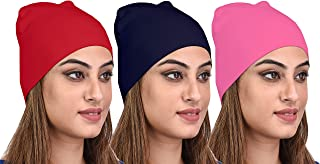 69GAL Women's Cotton Lycra Skull Cap (Multicolor_Free Size) (Pack of 3)
