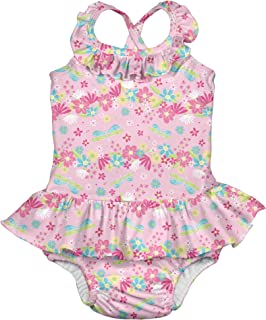 i play. by green sprouts Girls' One-Piece Swimsuit with Built in Reusable Swim Diaper