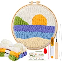 Punch Needle Kits Embroidery Kits,DIY Punch Needle Kit Embroidery Craft for Beginners Household Decoration Gifts with Printed Pattern 8x8 Inch Sunrise