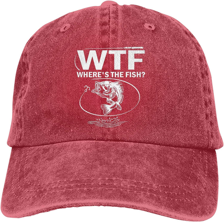 Garitin WTF Wheres The Fish Adjustable Washed Unisex Dad Hat Trucker Cap Hat Denim Cap Baseball Cap