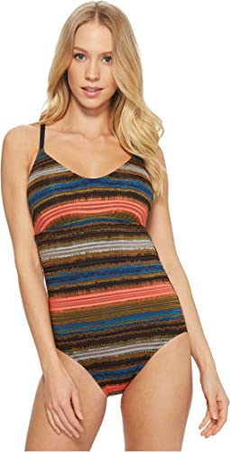Printed Shadow Stripe Racerback One-Piece
