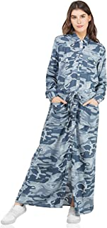 SLAY. Women's Viscose Rayon Full Sleeve Camouflage Printed Casual Blue Long Ankle Length Dress for Girls