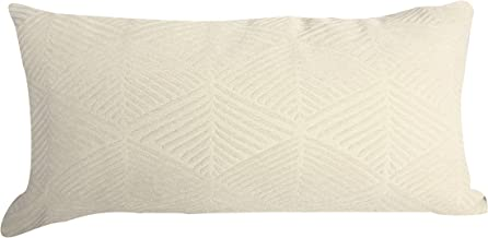 "Urban Loft by Westex Shattered Triangles Ivory Feather Filled Decorative Throw Pillow Cushion, 14"" x 26"""