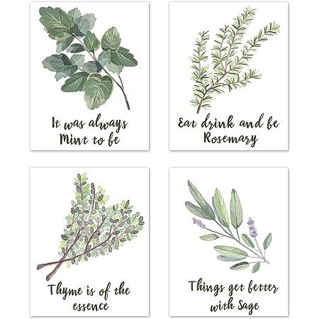 Herbs Painting Set 6 Kitchen Prints Vintage Kitchen Art Farmhouse Decor Kitchen Gallery Kitchen Decor Herb Prints Kitchen Wall Art Set