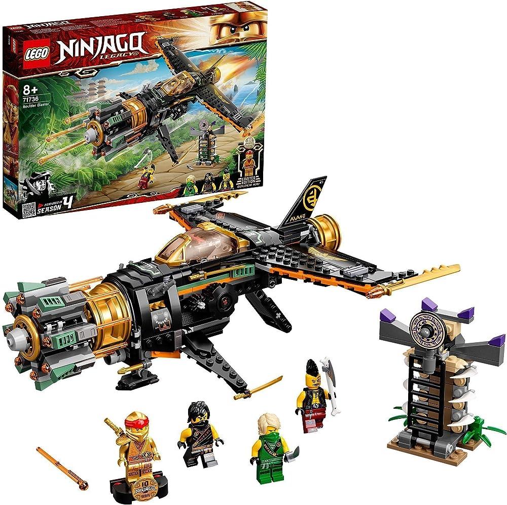 Lego ninjago spara missili, aero giocattolo, con prigione e personaggio kai ninja d`oro da collezione 71736