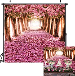TJ Pink Flower Trees Backdrop Romantic Flower Enchanted Forest Photography Background Wedding Bridal Shower Banner Decoration Baby Shower Birthday Party Supplies Photo Studio Booth Props 6X6FT Vinyl