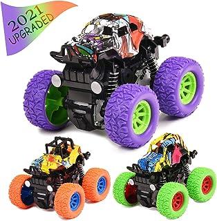 Monster Trucks Juguetes para niños 3 piezas de inercia tire hacia atrás de juguete de coches de fricción vehículos para ni...