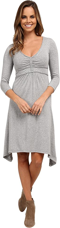 Cotton Modal Spandex Jersey Braided Trim Empire Seamed V-Neck Dress