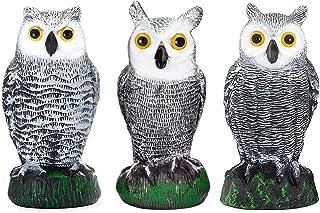 Scarecrow Fake Owl Decoys - Pest Repellent Garden Protectors – (Small) (Set of 3)