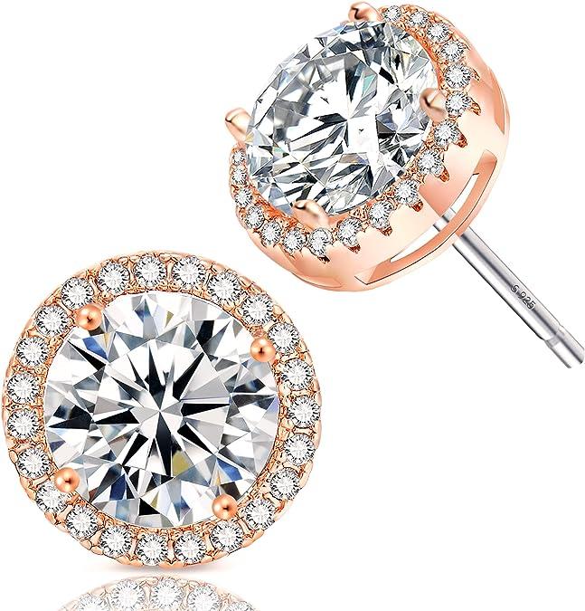 Fleur Rouge Multiple Diamonds Cluster Round Cut Stud Earrings