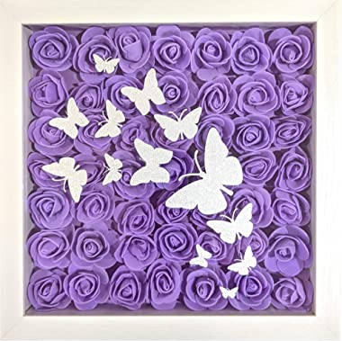 Heritage Hue Rose Flowers 3D Framed Wall Art with Butterflies Hanging Pediment Home Décor Accent for Wedding, Bridal Shower,