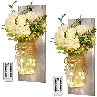 Wall Decor Mason Jar Sconces - Home Decor Wall Art Hanging Design with Remote Control LED Fairy Lights and White Rose, Far...