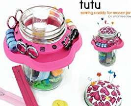 Tutu Creative Sewing Organizer | Turn a Mason Jar into a Beautiful Sewing Caddy - Use As Thread Bobbins and Scissors Holder | Includes a Pincushion | A Wonderful Gift for Every Art and Craft Lover