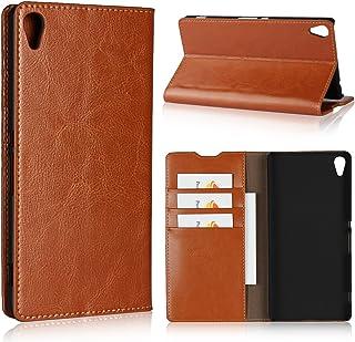 ソニー Sony Xperia XA Ultra /C6 ケース 手帳型 Zouzt 本革レザー 財布型カバー ポケット収納付き 横置きスタンド機能 二つ折り ベルトなしマグネットなし 軽量 手作り 耐久性 オシャレ ライトブラウン