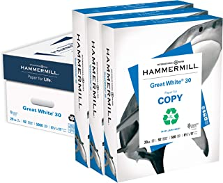 Hammermill Printer Paper, Great White 30% Recycled Paper, 8.5 x 11 - 3 Ream (1,500 Sheets) - 92 Bright, Made in the USA, 0...