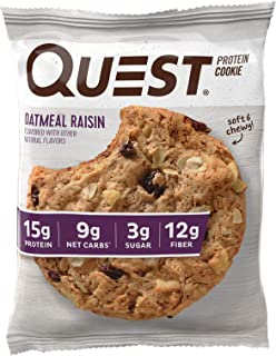Quest Nutrition Oatmeal Raisin Protein Cookie, High Protein, Low Carb, Gluten Free, 12 Count