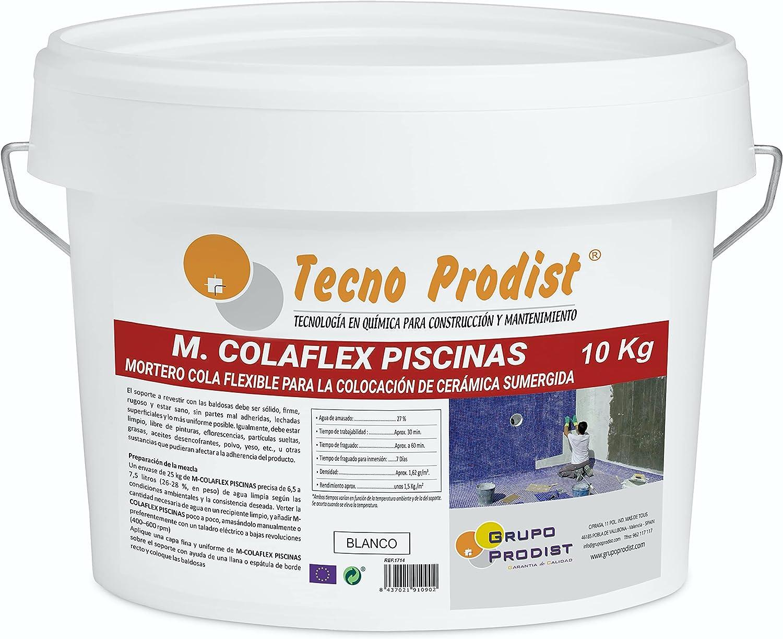 M-COLAFLEX PISCINAS de Tecno Prodist (10 Kg) Adhesivo cementoso mejorado flexible ideal para la colocación de baldosas en contacto permanente con agua como piscinas, depósitos agua, etc (Blanco)