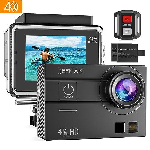 JEEMAK Sports Action Cam 4K 16MP écran Tactile 98ft Caméra étanche WiFi Télécommande Caméscope 2 Pcs Piles Rechargeables Accessoires de Montage Kits Compatible Go pro