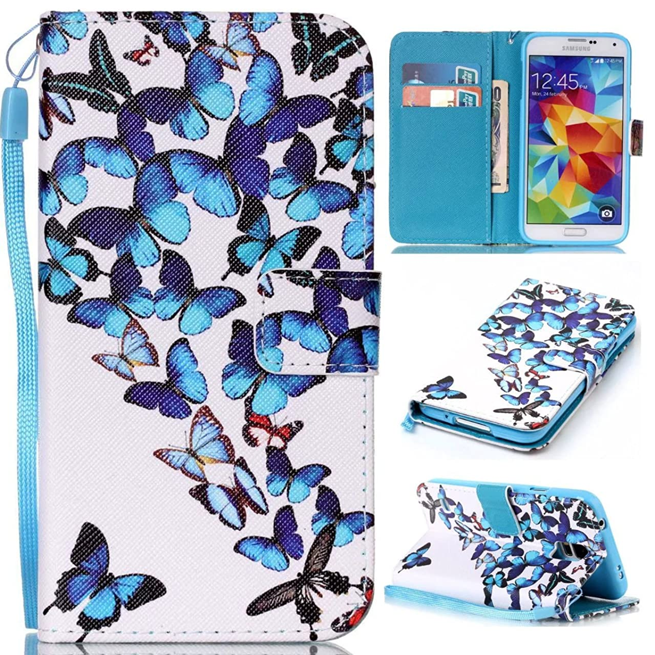 Galaxy S5 Case, Kmety Butterfly PU Synthetic Leather Wristlet Magnet Snap Wallet [Credit Card/Cash Slots] Kickstand Flip Case Cover for Samsung Galaxy S5