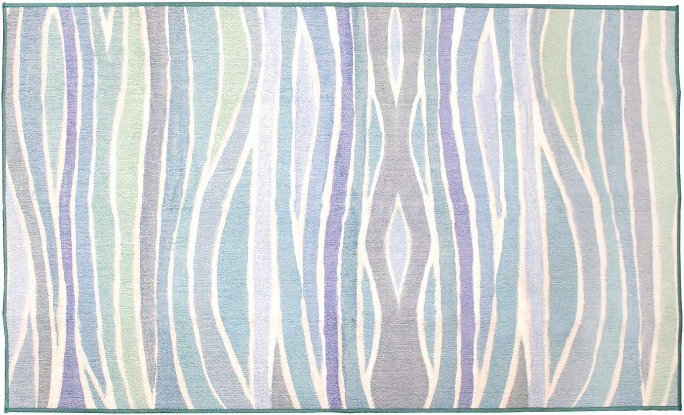 My Magic Carpet Machine Washable Accent セールSALE%OFF Waves 業界No.1 3X5 Rug Ocean Blue