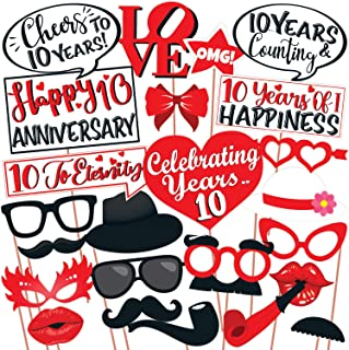 Wobbox 10th Anniversary Photo Booth Party Props DIY Kit, Red & White , Anniversary Party Decoration 25 Pcs