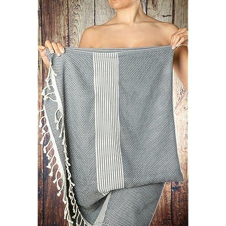 Happy Towels Hamamtücher | Grau und Weiß | 210 cm x 95 cm | 60% Bambus und 40% Bio-Baumwolle | Fairtrade